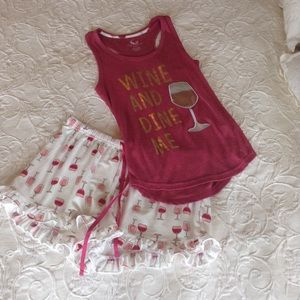 """Pink and White """"Wine And Dine Me"""" Matching Pj Set"""